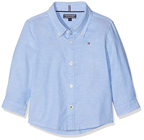 Tommy Hilfiger Boys Stretch Oxford L/s Blusa, Azul (Shirt Blue 474), 92 para Niños