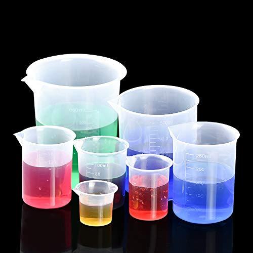 7 Stk Messbecher Kunststoff mit Skala 600ml 500ml 250ml 150ml 100ml 50m 25ml Transparent Maßstab Mark Labor Werkzeuge für Flüssigkeit