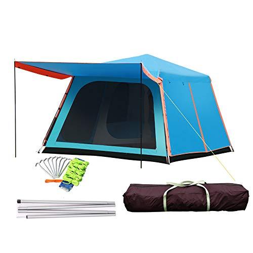 WAY-KE Camping Im Freien Großes Zelt-2 Zimmer Und 1 Halle, Vollautomatisches Hydraulisches Aufstellzelt,Wasserdichtes Sonnenschutz-Wanderzelt,Für Outdoor-Camping Camping Picknick Ausflug,Blau