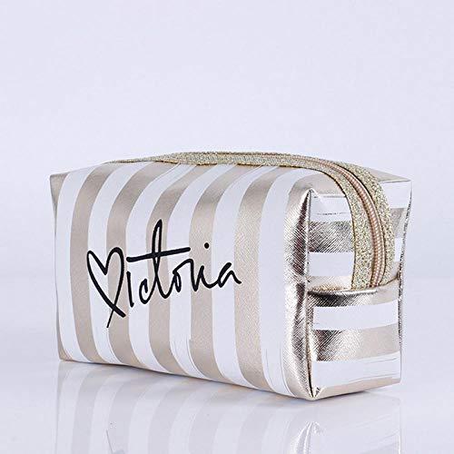 Sacs à cosmétiques Mode Cuir Femmes Make Up Bag PVC Pouch Wash Organisateur de Voyage Case 18.5 * 7.5 * 10.5cm-White_18.5 * 7.5 * 10.5cm