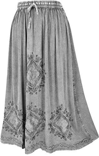 GURU SHOP Falda hippie bordada, estilo indio, maxi falda, para mujer, turquesa, sintética, talla: 40, Gris/Design 9, 42