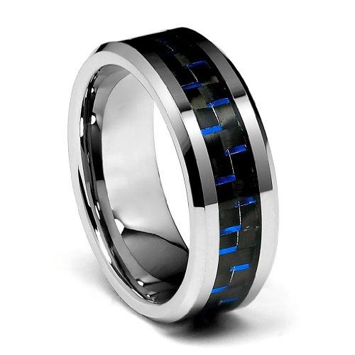 TWJC 8mm Blue Carbon Fiber Men
