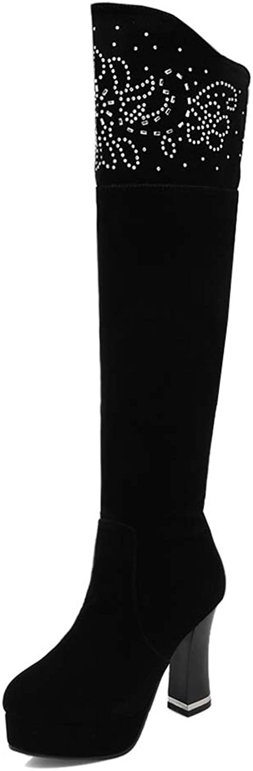 Ladies Long Boots, Thigh High Over The Knee High Tube Boots Women's Scrub Waterproof Platform High Thick Heel Fashion Boots (color   Black, Size   38)