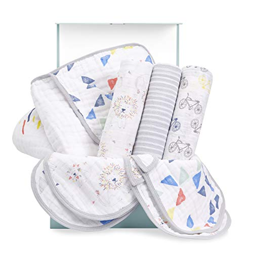 aden + anais Baby Gift Set for Newborn Boy & Girl, 8 Piece Baby, Wrapped with Keepsake Box, Leader of The Pack