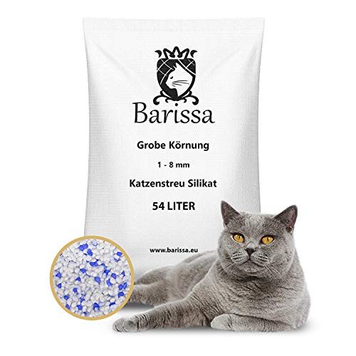 BARISSA Silikat Katzenstreu Grob 54 Liter = 20KG Katzenstreu Hygienestreu Silica Kristall Staubfrei Geruchsneutralisierend x 1 Stück