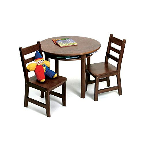 Lipper International Child's Round Table with Shelf and 2 Chairs, Walnut Finish
