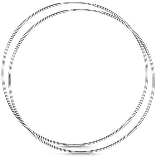 Amberta® 925 Sterling Silber Edle Ringe Mit Geschlossener Ring – Kleine Runde Kreolen Ohrringe - Durchmesser: 20 30 40 60 80 mm (80mm)