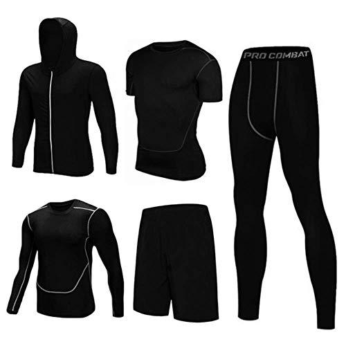 IDE Play Sport Gym Fitness Hommes Vêtements Set Sweats Vestes + Manches Longues + Manches Courtes Couches de Base T Shirts + Shorts + desserrées Fitting Pants Compression pour la Formation,C,XXXL