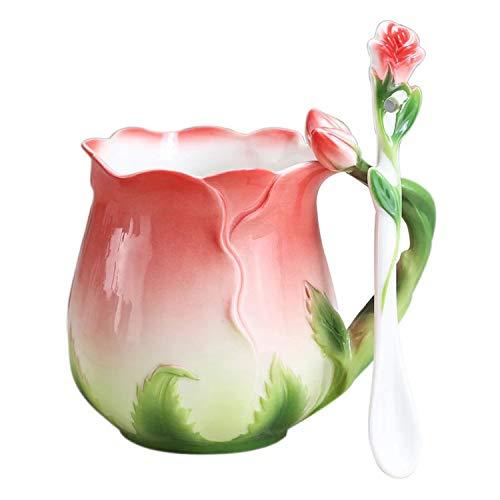 YBK Tech Mug à café en porcelaine avec cuillère et tasse en porcelaine Motif rose 3D Rouge