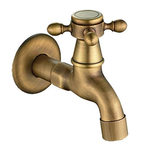 JIAN Antiguo Vintage latón montado en la Pared botón Giratorio Grifo Grifo Grifo jardín baño Lavabo Grifo Grifo mar máquina de Agua Grifo Exquisite (Color : Brass)