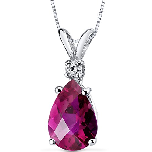 14 Karat White Gold Pear Shape 2.50 Carats Created Ruby Diamond Pendant