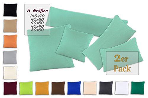 SHC - Kissenbezug 2er-Set für Dekokissen, 100% Baumwolle mit Reißverschluss - 40x40 cm, grayed Jade/Mint