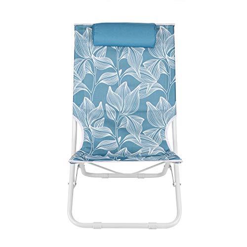 KASANOVA Sedia Pieghevole e Salvaspazio da Spiaggia con Poggiatesta - Struttura in Metallo e Seduta in Textilene con Decori Floreali - Portata massima 90 kg - Colore Blu
