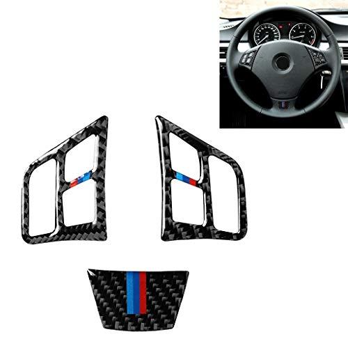 Zhoutao 3 en 1 coche de fibra de carbono tricolor botón del volante de la etiqueta engomada for BMW Serie 3 E90 2005-2012, izquierda y derecha Universal Drive