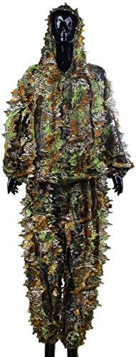 Hinleise Ghillie Suit – 3D Leaf Erwachsene Ghillie Anzug Woodland Camo/Camouflage