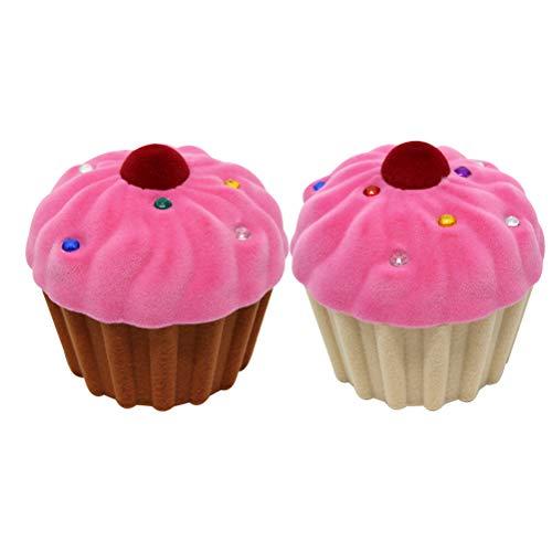 TOPBATHY Utile Lot de 2 boîtes à bijoux en forme de crème glacée pour boucles doreilles ou clous doreilles Marron rosé + beige rosé