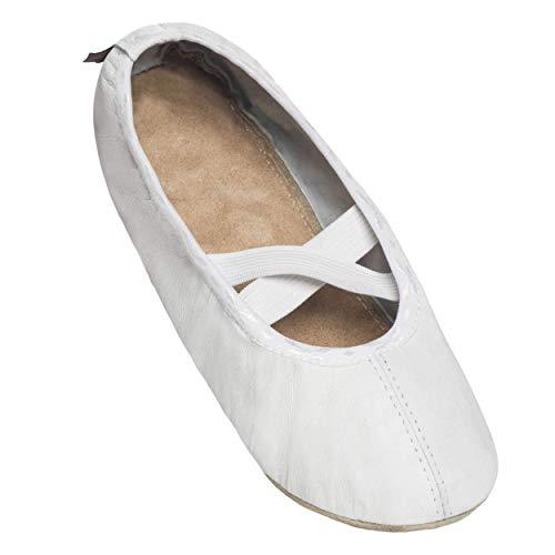 BeComfy Zapatillas de Ballet Gimnasia de Piel - Zapatillas de Baile de Bailarinas para niños y Adultos - Zapatillas elásticas Ligeras Mujeres y niñas Negro Blanco 24 a 41 (37 EU, Blanco)