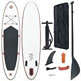 vidaXL Tabla de Surf de Remo Inflable de Color Rojo y Blanco con Sup Regulable