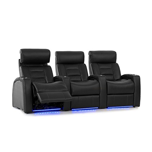 Octane Seating Flex HR Home Theatre Seating - Black Top Grain Leather - Power Recline - Lighted Drink Holders - Row of 3 Seats