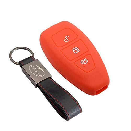 Funda Silicona para Ford – Carcasa Llaveros 3 Botones para Coche Fiesta Focus Galaxy Fusion S-MAX Kuga Ecosport Cover Case Protección Remoto Mando Auto (Rojo/Solo Keyless GO)