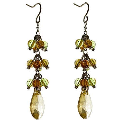 Behave dames eenvoudige druppeloorbellen oorbellen - onverwoestbaar metaal - groen - 6,5 cm maat