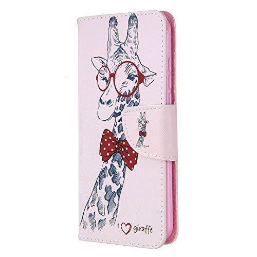 Samsung Galaxy A21S Hülle, Reevermap Protective PU Leder Case Brieftasche Magnet Flip Cover Stoßfeste Klapphülle mit Standfunktion Hnadyhülle für Samsung Galaxy A21S,Giraffe