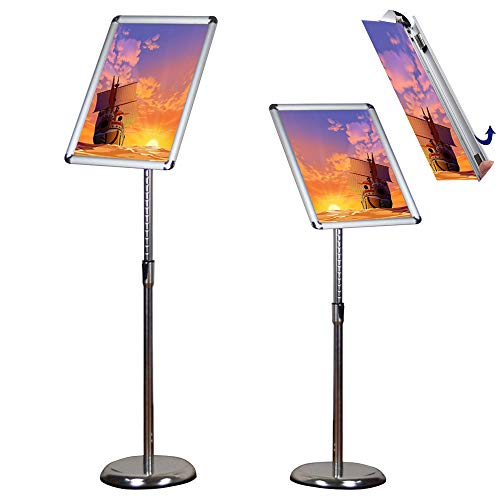 Egeen Pedestal Sign Holder, Adjustable Poster Stand Sign Holder, Floor Sign Stand for Display/Advertisement, Vertical and Horizontal View Display (Silver, 8.5 x 11 inches)