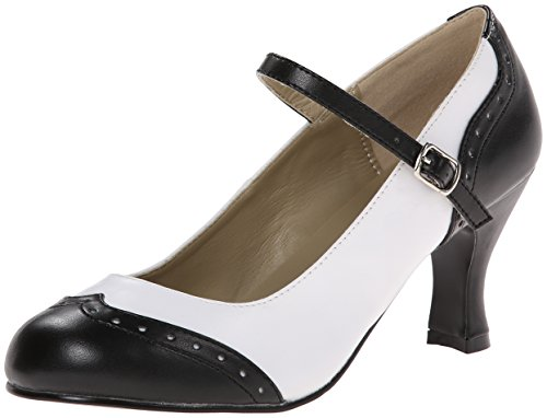 Pleaser Damen Flapper 25 Pumps &Amp Heels mit Blockabsatz, Black (Blk Wht Pu), Gr. 37 EU( 4 UK)
