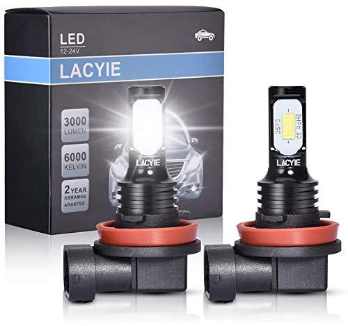 H8 H9 H11 LED,LACYIE CSP 60W 3000LM 6000K Bianco Lampadine LED Impermeabile IP68 Kit Sostituzione per Alogena Lampade e Xenon Luci, Fari Abbaglianti o Anabbaglianti per Auto e Moto - 9-36V(2 Pcs)