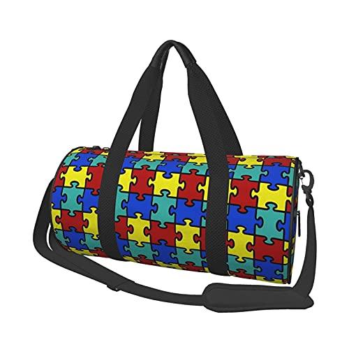 Bolsa de deporte de viaje, diseño de puzle de conciencia autismo colorido, bolsa redonda para equipaje de mano, fácil almacenamiento, bolsa de fin de semana, para hombre y mujer