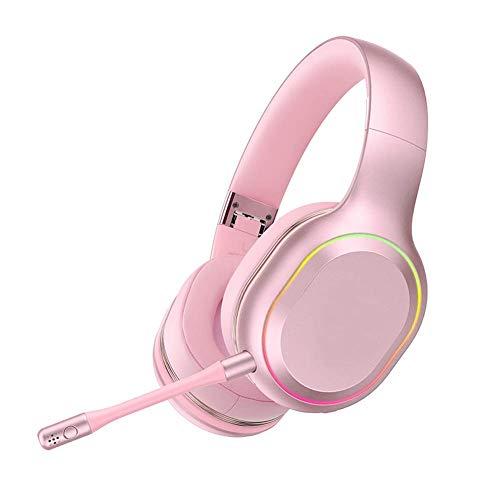YAJIWU Kopfhörer, Gaming-Headset, PS4/PC/Tablet/Computerphone, Kopfhörer Stereo Over Ear, Bass 3,5 mm Mikrofon Geräuschunterdrückung, 7 LED-Lichter, weiche Memory-Ohrenschützer (Farbe: Rosa)