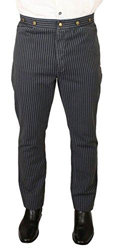 Historical Emporium Men's High Waist Edgar Striped Cotton Trousers 36 Gray