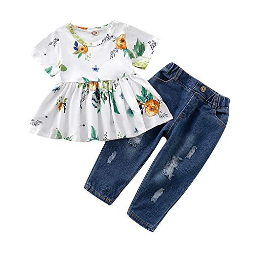 Baby Kinder Mädchen Kurz Ärmel Blumen Drucken T-Shirt Tops + Ripped Jean Hose Outfits