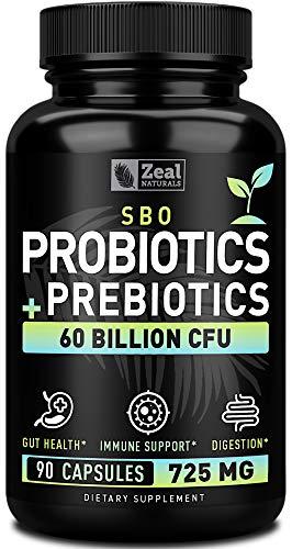 Probiotics and Prebiotics + SBO Probiotics (60 Billion CFU | 90 Capsules) Acidophilus Probiotic w. Saccharomyces Boulardii, Bifidobacterium + Spore Probiotic & Organic Sprouted Prebiotic Fiber Blend
