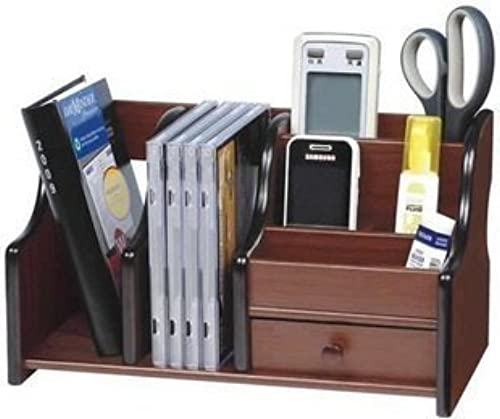 Sevia Polished Wooden Pen Stand Big Size With Drawer Mobile Holder Remote Stand For Office Desk Table Accessories All In One Multipurpose Desk Organizer
