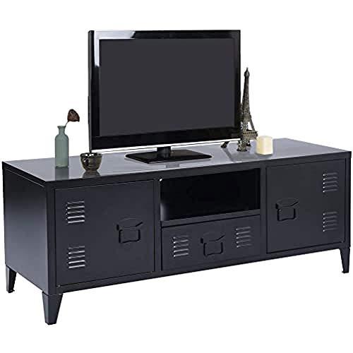MEUBLE COSY SULLIVAN BLACK Grand Espace 1 Tiroir, 2 Portes Métal Bureau Armoire, Buffet de rangement, Meuble Télévision Noir, 120x40x48cm
