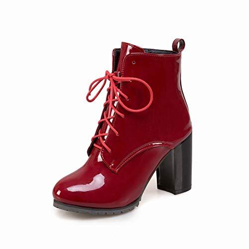 Botas De Mujer De Otoño E Invierno - Botas De Tacón Alto De Encaje/Botas Martin/Viento Británico 40~47 Extra Grande,Vino rojo,39