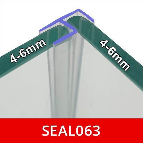 SEAL063 Vertikale Eckdichtung für Dusch- oder Badewannentür, passend für 4, 5 oder 6 mm Glas, 2 m lang