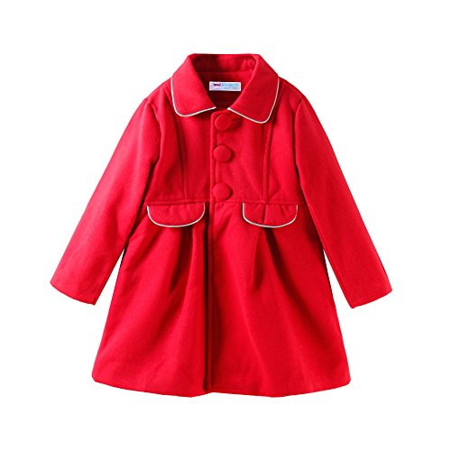 Mud Kingdom Little Girls Peacoat Dress Coat Slim Size 5 Red