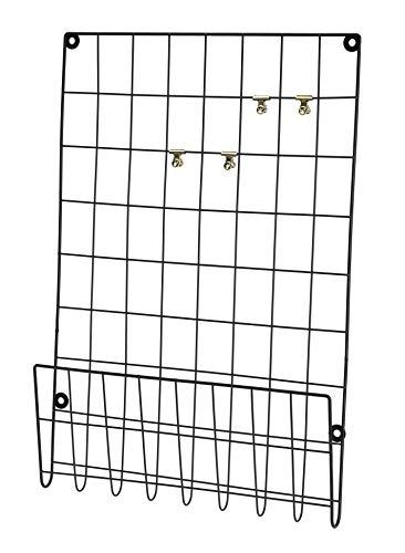 Meinposten. Wandgitter schwarz Metall 60x40 Memoboard Pinnwand Fotowand m. Klammern & Ablage