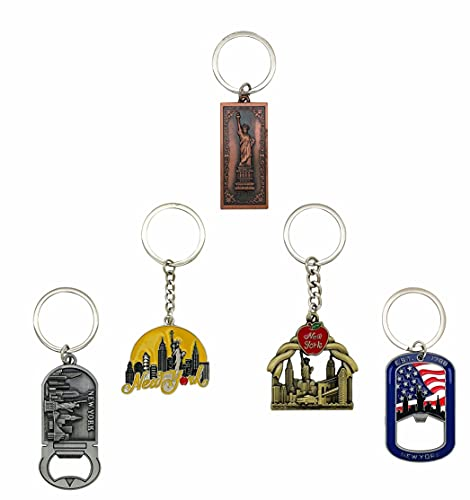NYC Metal Keychain, New York Souvenir Color Key Ring, 5 Pack, The Statue Of Liberty, USA Flag, The Big Apple (KC5S-4)