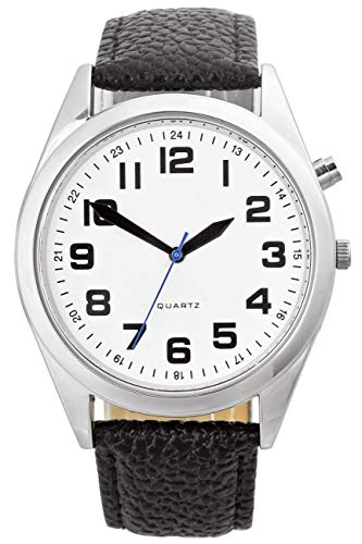 Men's English Talking Watch with Black Leather Strap