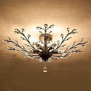 CVKASH 5 - Light Vintage Small Crystal Chandelier, Modern Semi Flush Mount Ceiling Light Fixture,Chandelier Lighting for Kitchen Bedroom Living Room Dining Room Hallway Foyer(Black)