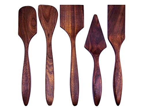 American Made Black Walnut Wood Baking/Cooking Spatula Set, Set of 5