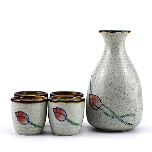 YAMMY Teteras, Juego de Sake de 5 Piezas, Juego de Copas de Vino de cerámica, diseño de Loto pintoresco, Incluye Olla de Sake de 10 oz, Tazas de Sake de 1.5 oz, para frío/Calor (Juegos de té)