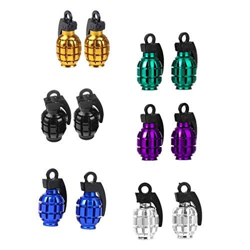 6 Pares De La Bici del Coche con Forma De Neumático Válvula De Polvo De Metal Cubierta De La Tapa Granada De 6 Colores