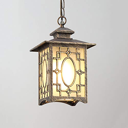 COCNI IP54 Impermeable Ajustable Cadena de Luz Lámpara de Cristal Lámpara Colgante Linterna Retro Europea Al Aire Libre Aluminio Metal Lámpara Colgante Para Villa Patio Gazebo Corredor Porche Balcón E