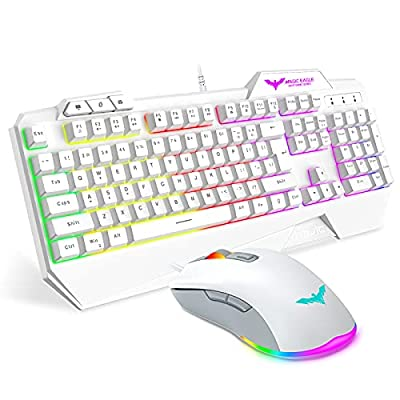 Havit Keyboard Rainbow Backlit Wired Gaming Keyboard Mouse Combo, LED 104 Keys USB Ergonomic Wrist Rest Keyboard, 3200 DPI Mouse for PC Gamer (White) from havit