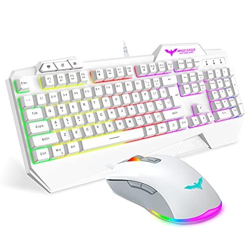 havit Keyboard Rainbow Backlit Wired Gaming Keyboard Mouse Combo, LED 104 Keys USB Ergonomic Wrist Rest Keyboard, 4800 DPI Mouse for PC Gamer (White)