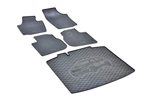 Passende Gummimatten und Kofferraumwanne Set geeignet für Skoda Rapid Spaceback ab 2013 EIN Satz